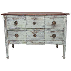 Louis XVI Painted Two-Drawer Commode with Wood Top, France, 18th century