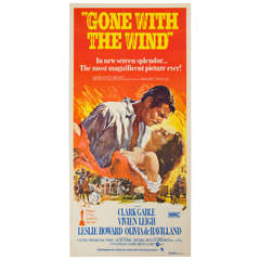 "1939 Film Poster ""Gone with the Wind,"" Clarke Gable Australian Market"