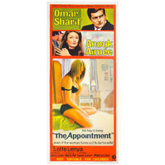 "1969 Film Poster ""the Appointment"" Omar Sharif Australian Market"