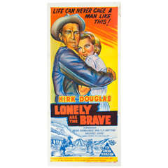 "1962 Film Poster ""Lonely Are the Brave"" Kirk Douglas Australian Market"
