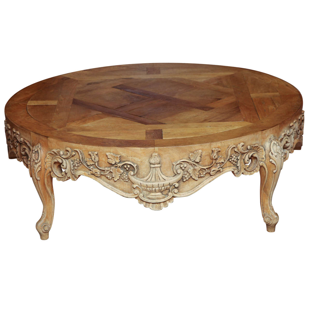 French Provincial Round Oak Cocktail Table At 1stdibs
