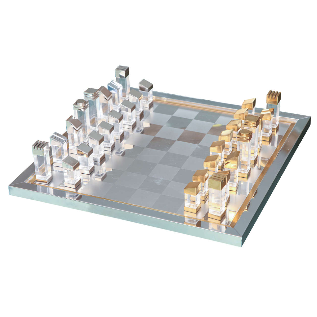 Steel Chess Set romeo rega chess set in lucite, brass and chrome at 1stdibs