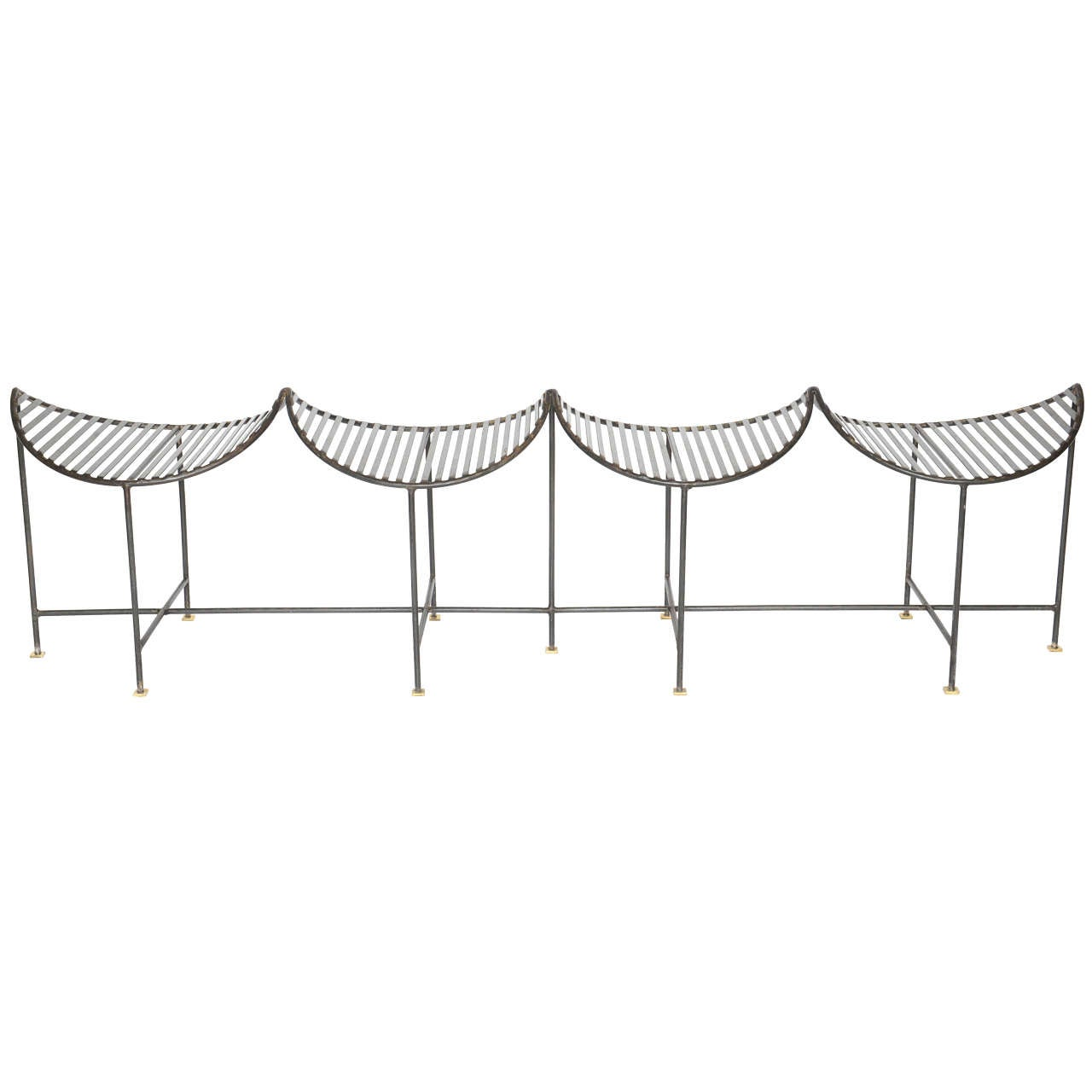 Extra-Long Four-Seat Slatted Iron Bench