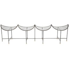 Iron Four-Seat Slatted Bench