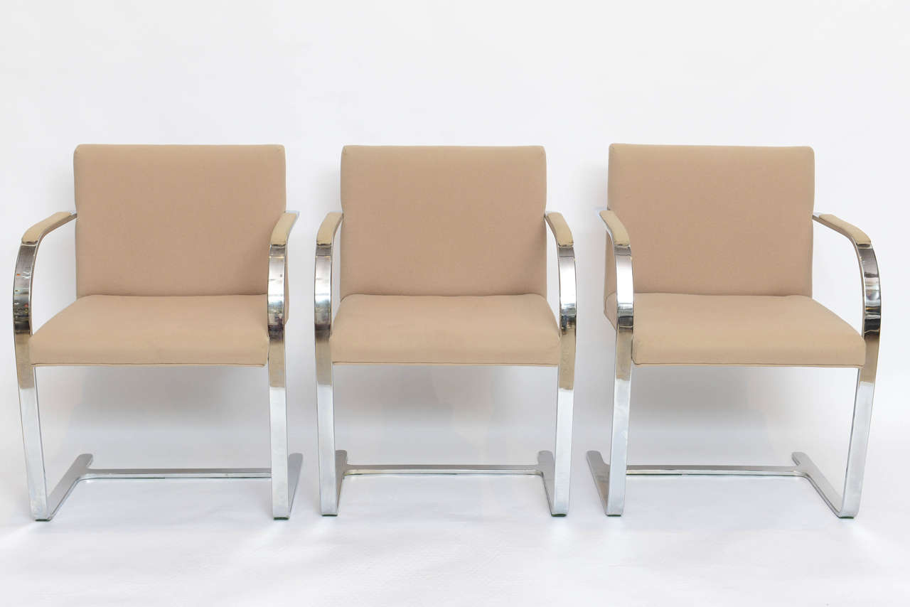 Set of six Brno chairs, Mies van der Rohe.  Perfect for any decor! Heavy!  This item is currently in our MIAMI facility. Please call or email us directly for details.