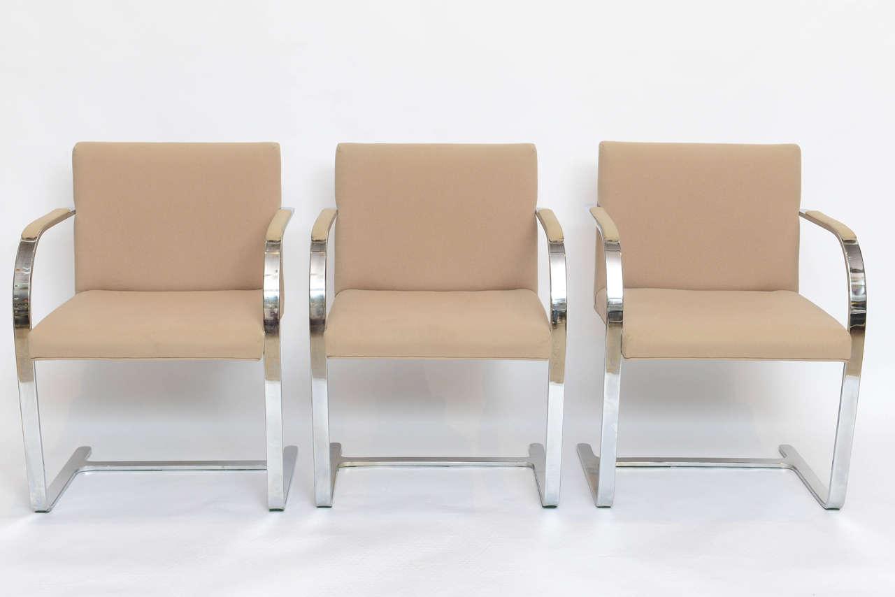 Set of Six Mies Van Der Rohe Flatbar Brno Chairs 2