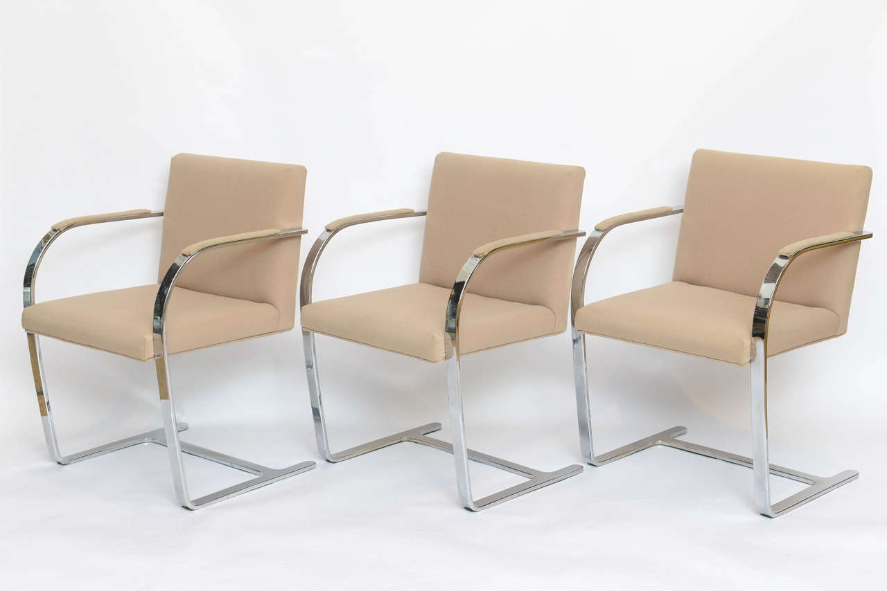 Set of Six Mies Van Der Rohe Flatbar Brno Chairs 3