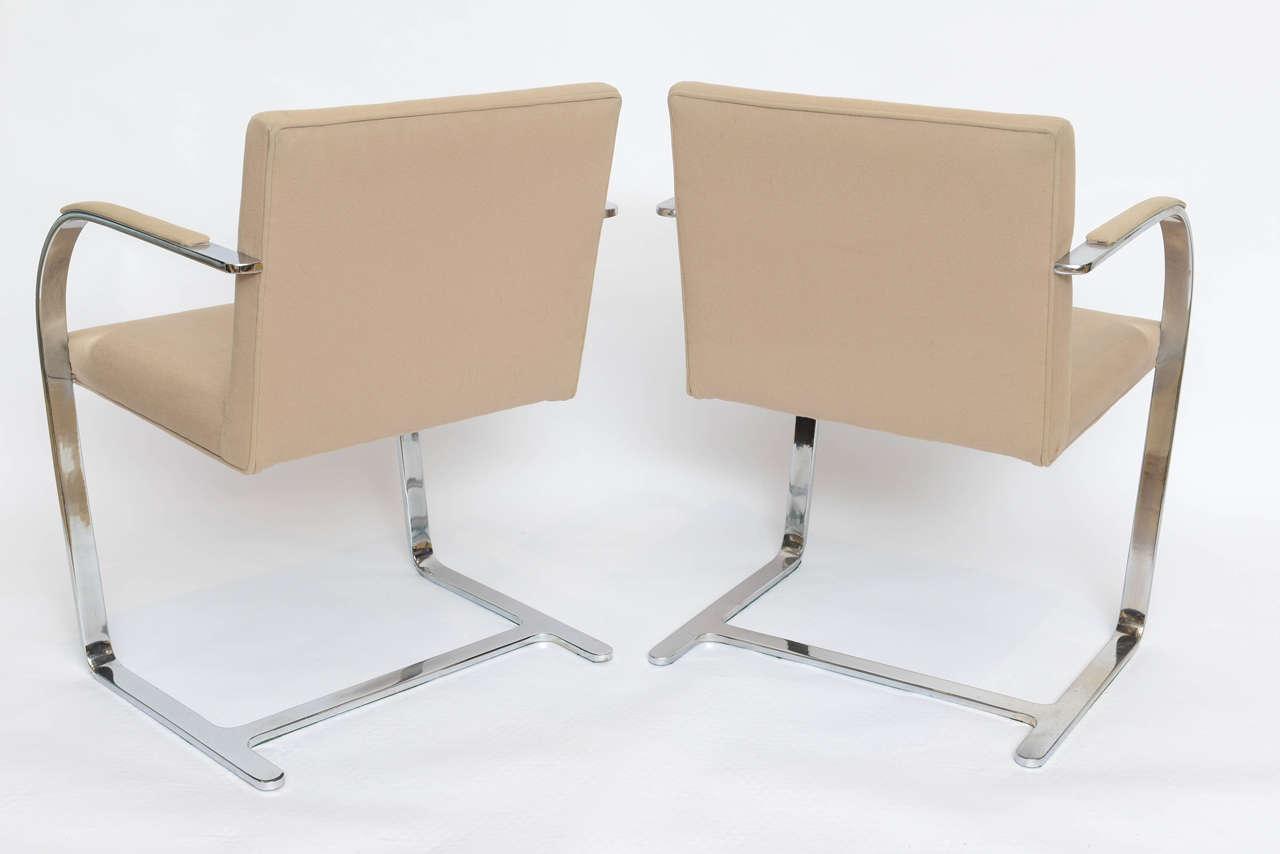 Set of Six Mies Van Der Rohe Flatbar Brno Chairs For Sale 1