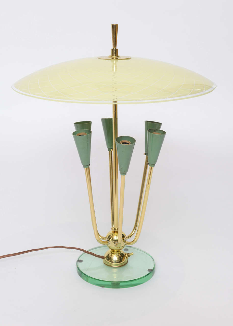 Exceptional Italian Table Lamp in Manner of Fontana Arte For Sale 3