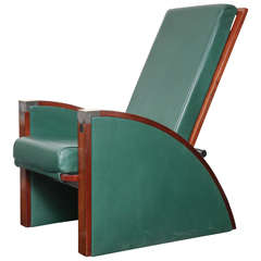 Mid-20th Century Mahogany and Leather Armchair