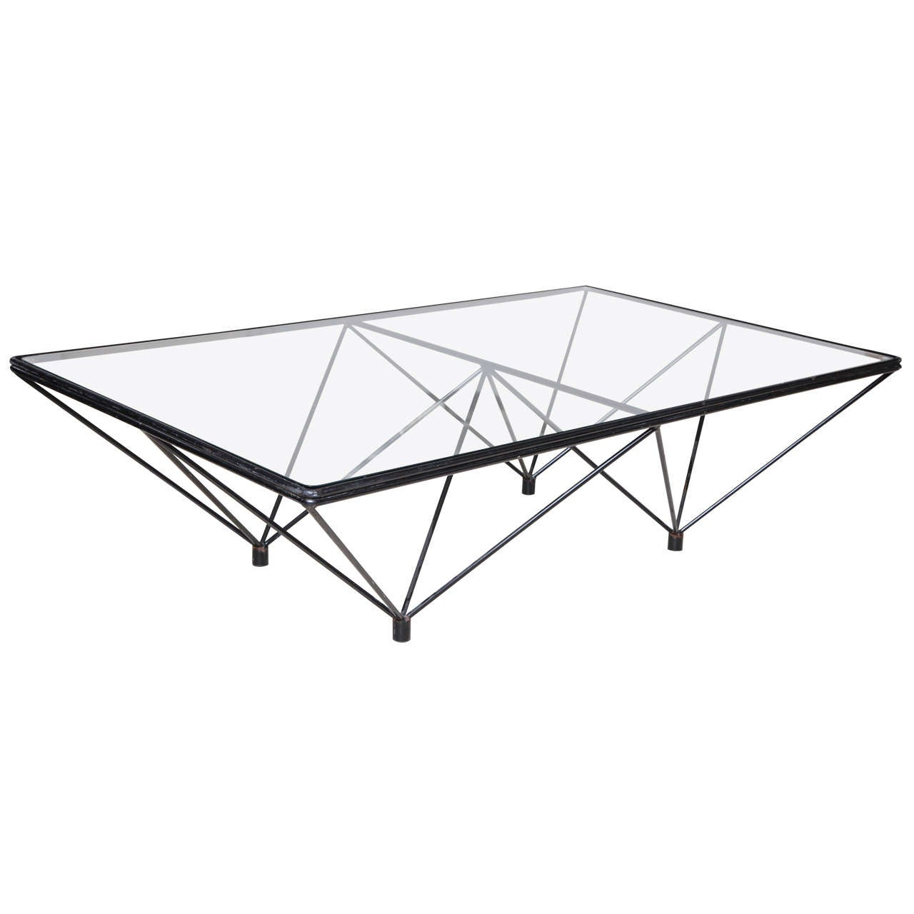 20th Century Black Steel and Glass Coffee Table