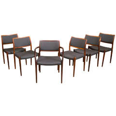 Rare Six Rosewood Niels Moller Dining Chairs, Denmark