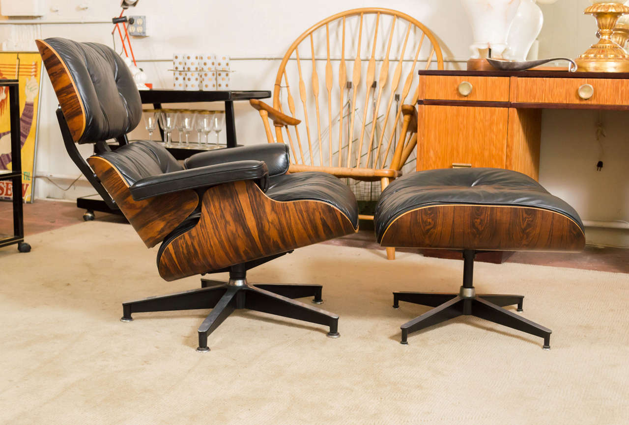 eames rosewood lounge chair 670 and ottoman 671 for herman miller at
