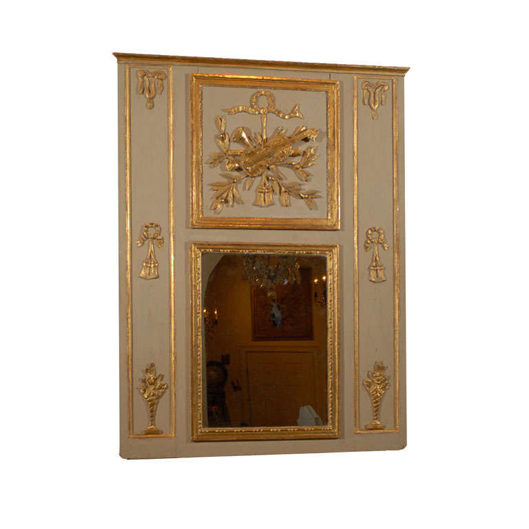 French Louis XVI Painted Gilded Trumeau