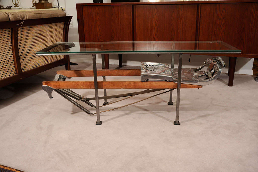 1930u0027s Rowing Machine Converted To A Glass Topped , Steel Framed Coffee  Table.