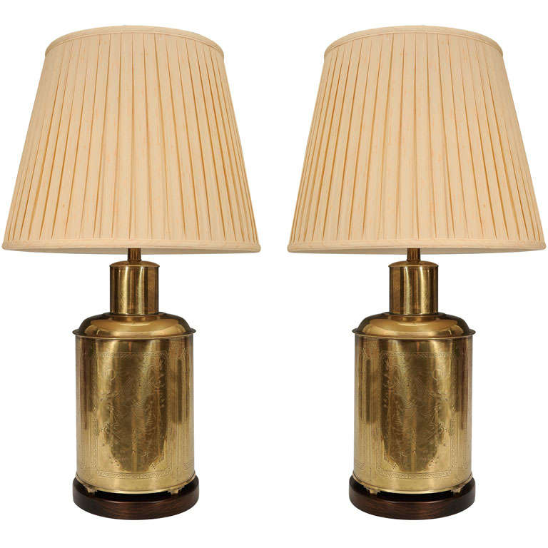 pair of frederick cooper canister lamps at 1stdibs
