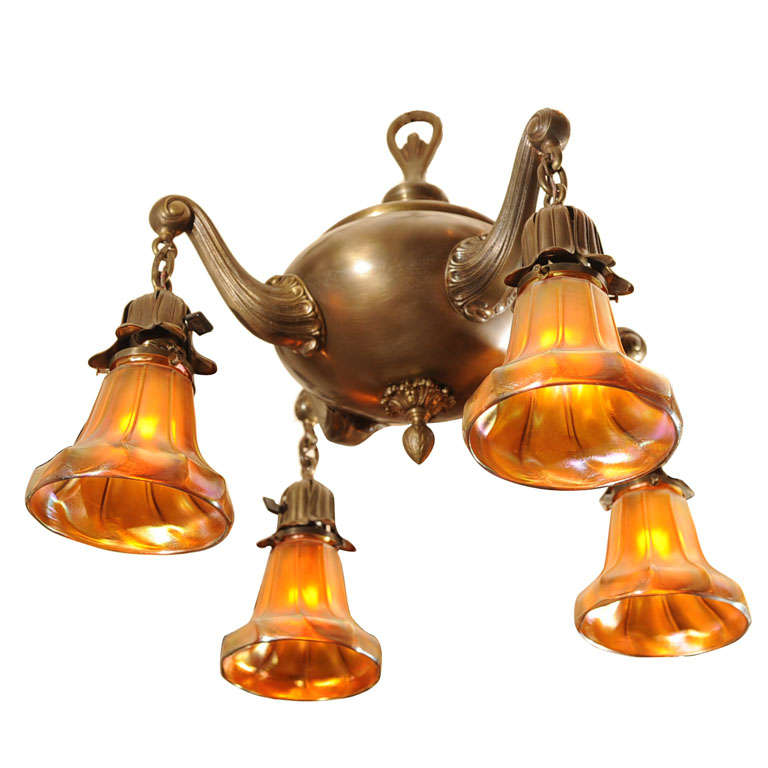 Four-Arm Chandelier with Period Art Glass Shades
