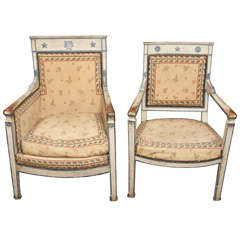 Pair of His and Hers bergere and Fauteuil
