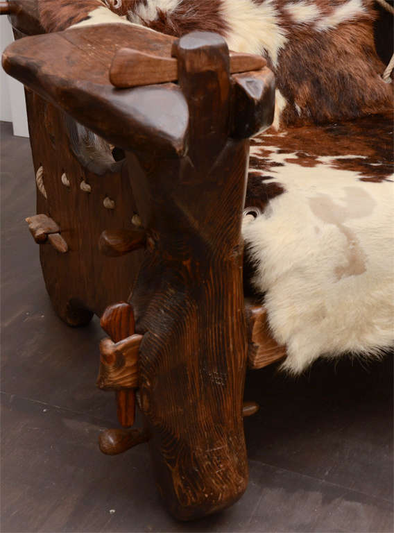 Pair of Pinewood and Cowhide Armchairs by Georges Charpentier 3