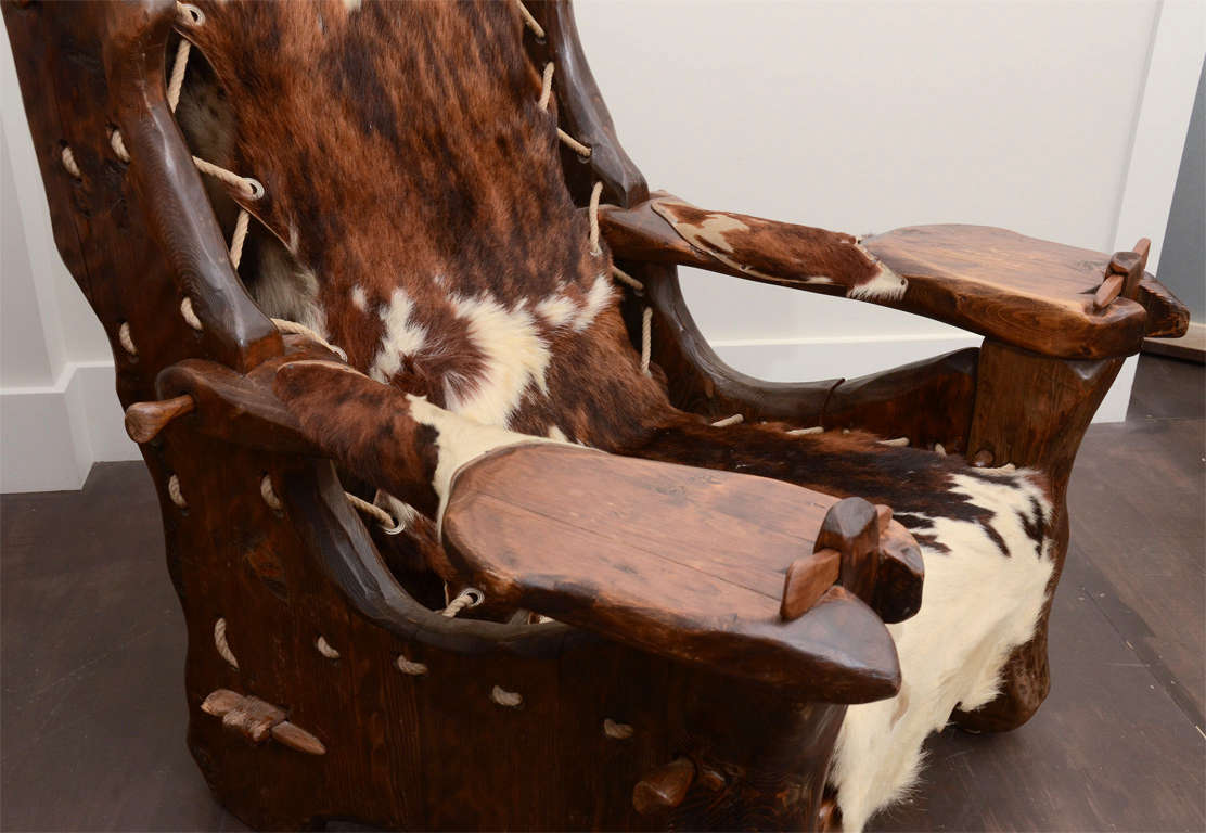 Late 20th Century Pair of Pinewood and Cowhide Armchairs by Georges Charpentier For Sale