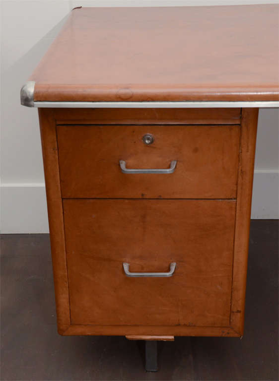 Leather Clad Five Drawer Desk with Metal Trim 3