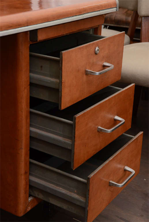Leather Clad Five Drawer Desk with Metal Trim 5