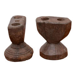 Pair of Rustic Wooden Carved Candlestick Holders