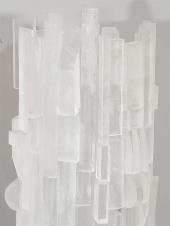 Pair of frosted acrylic cylinder table lamps. Customization is available in different sizes.