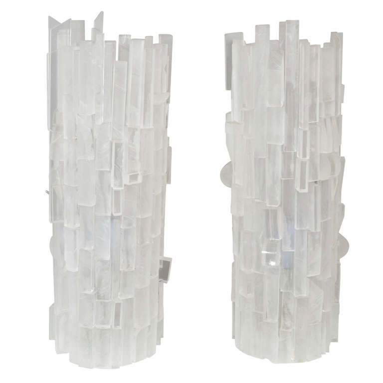 Pair of Frosted Acrylic Cylinder Table Lamps For Sale