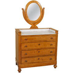 19th Century Cherrywood Marble-Top Vanity / Swivel Mirror-STORE CLOSING MAY 31ST