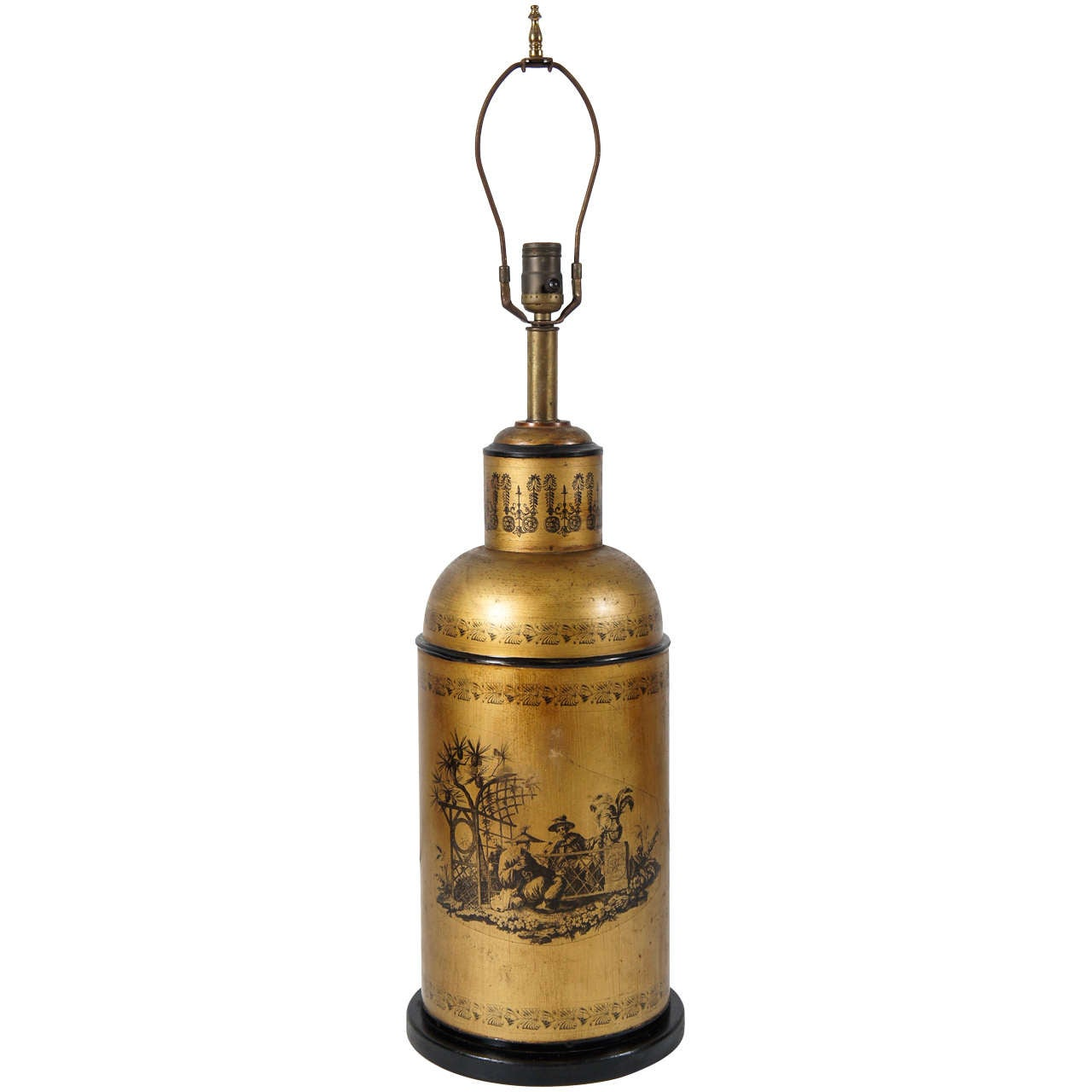 Chinoiserie Tea Canister Tole Lamp