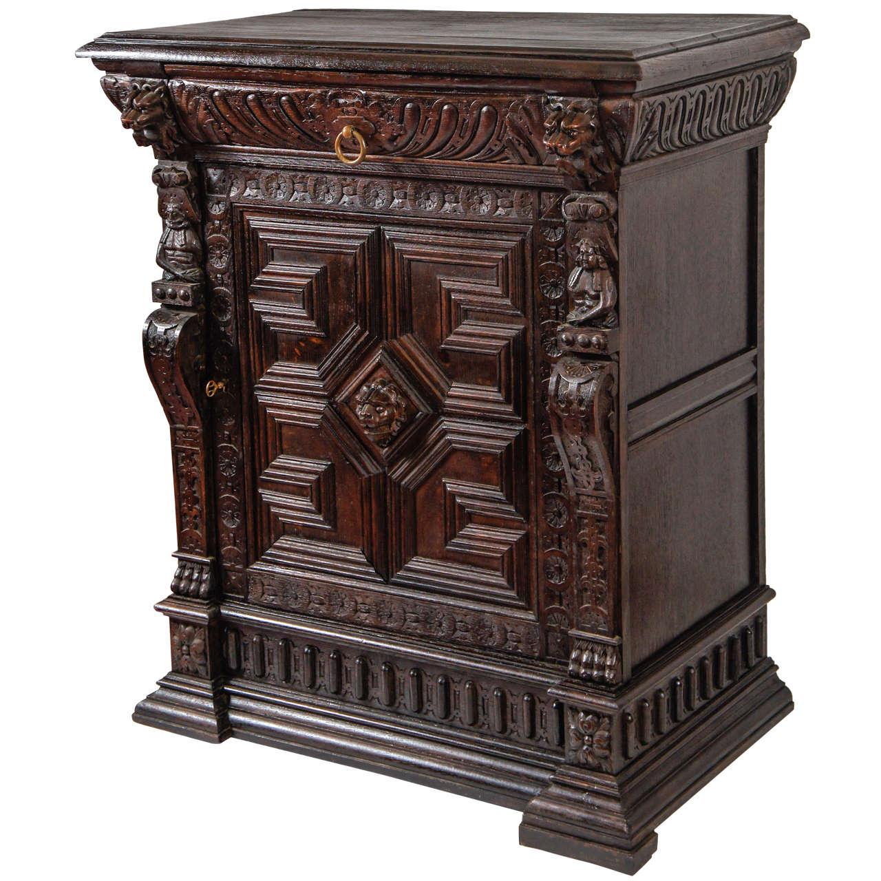 Antique hand carved oak cabinet at 1stdibs for Carved kitchen cabinets