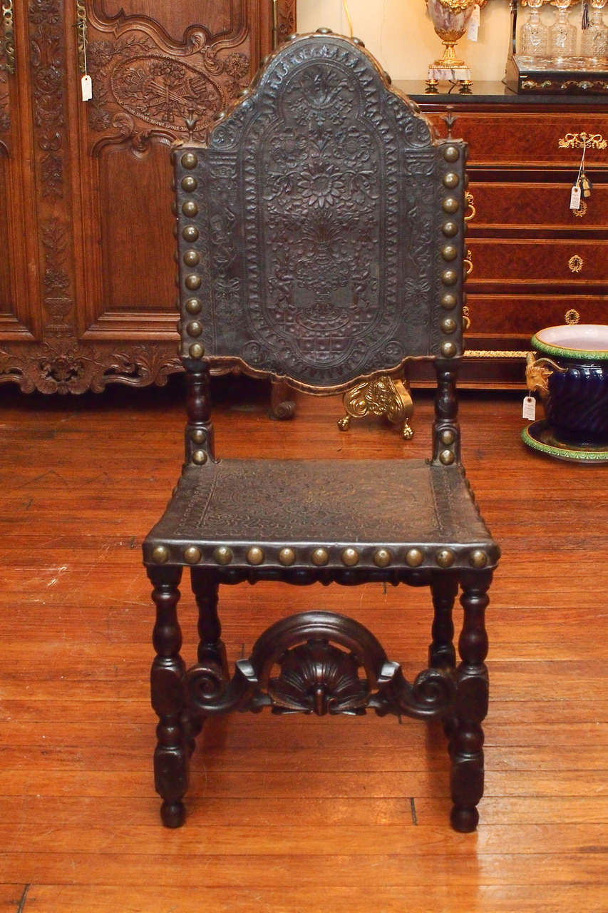 Set Of 12 Antique Gothic Style Oak And Leather Dining