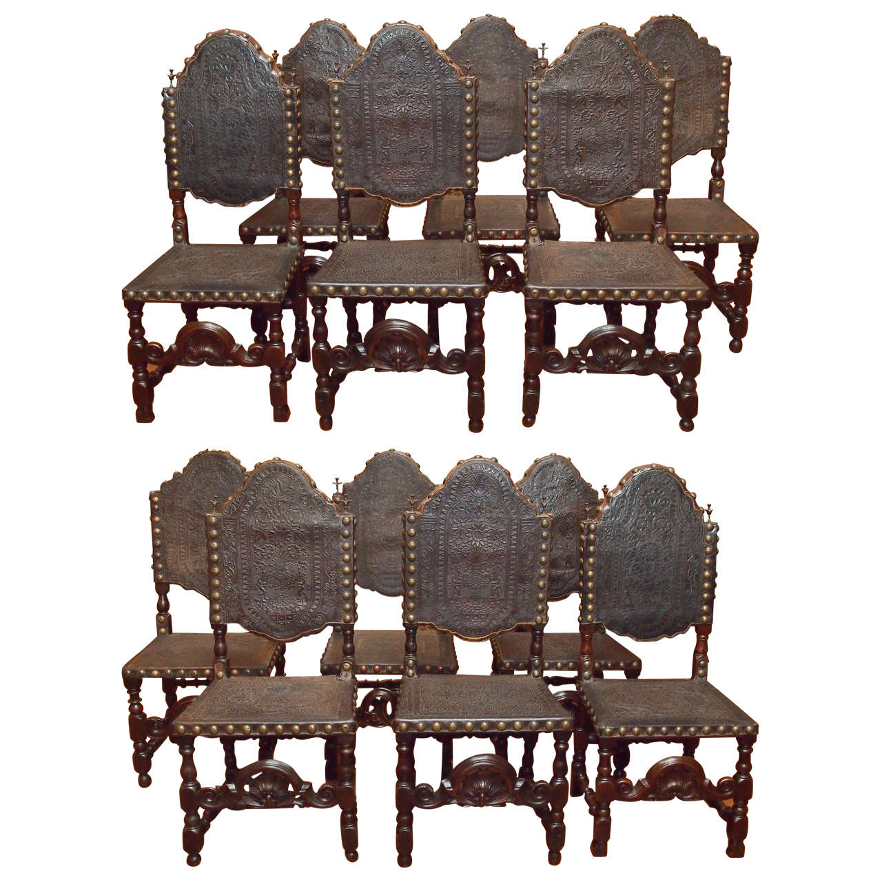 Set of 12 Antique Gothic Style Oak and Leather Dining Chairs For Sale - Set Of 12 Antique Gothic Style Oak And Leather Dining Chairs At 1stdibs