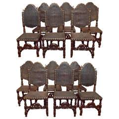 Set of 12 Antique Gothic Style Oak and Leather Dining Chairs