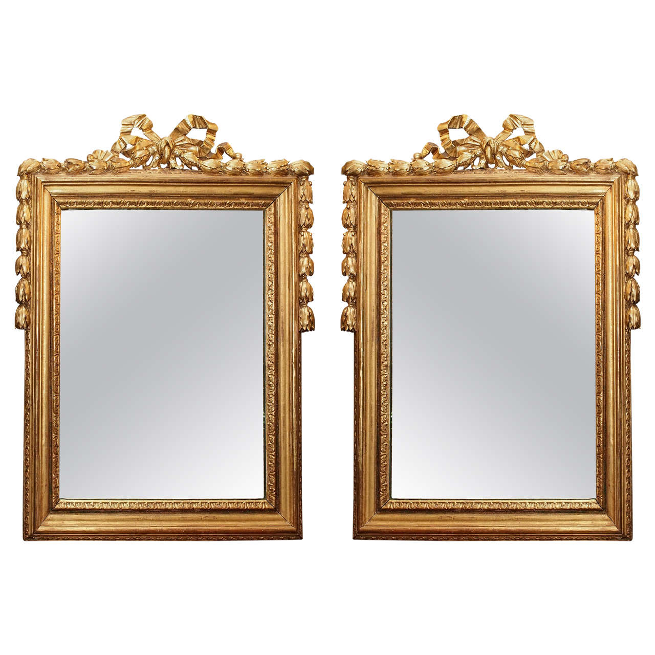 Pair antique gold leaf louis xvi style mirrors at 1stdibs for Antique style wall mirror