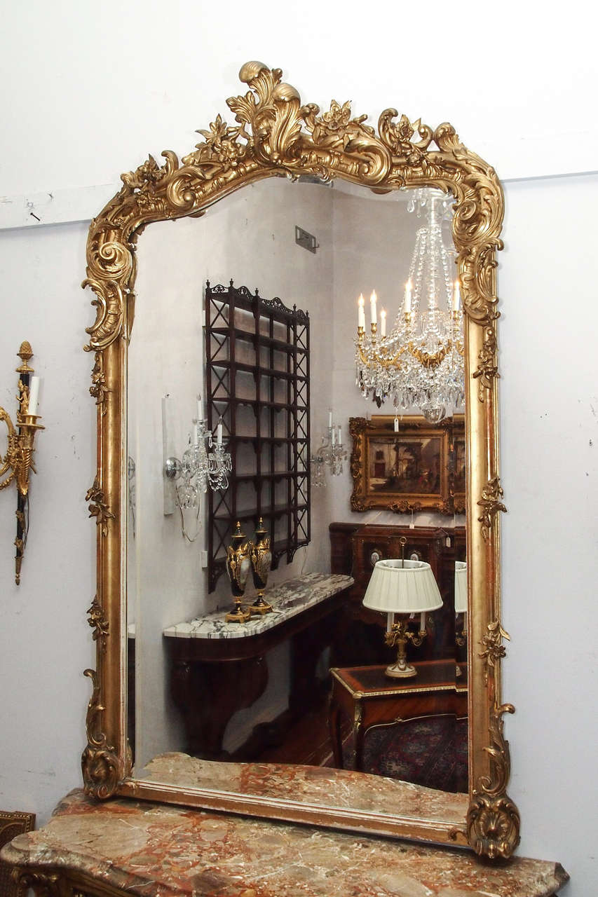 Antique French Louis Xv Fine Gold Leaf Beveled Mirror At