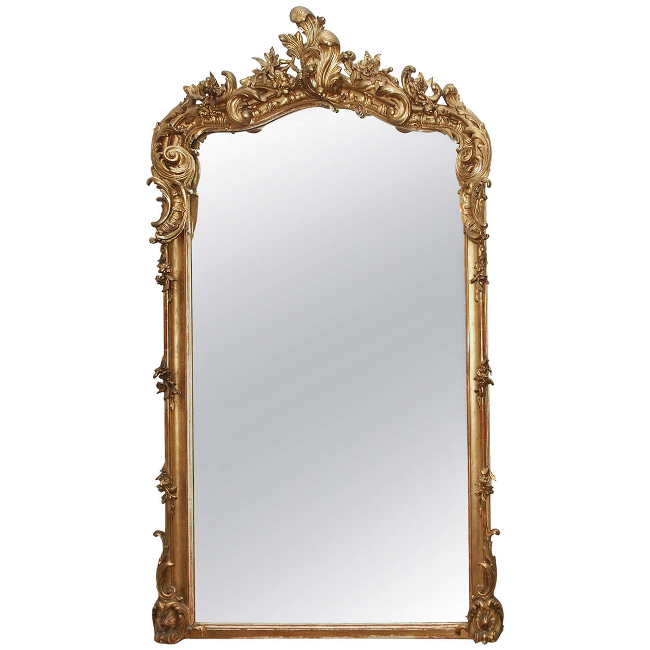 Antique french louis xv fine gold leaf beveled mirror at for Beveled mirror