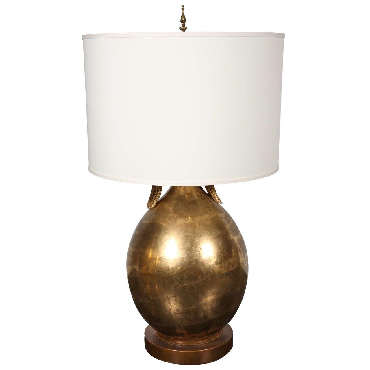 Vintage Xl Ceramic Gold Leaf Table Lamp At 1stdibs