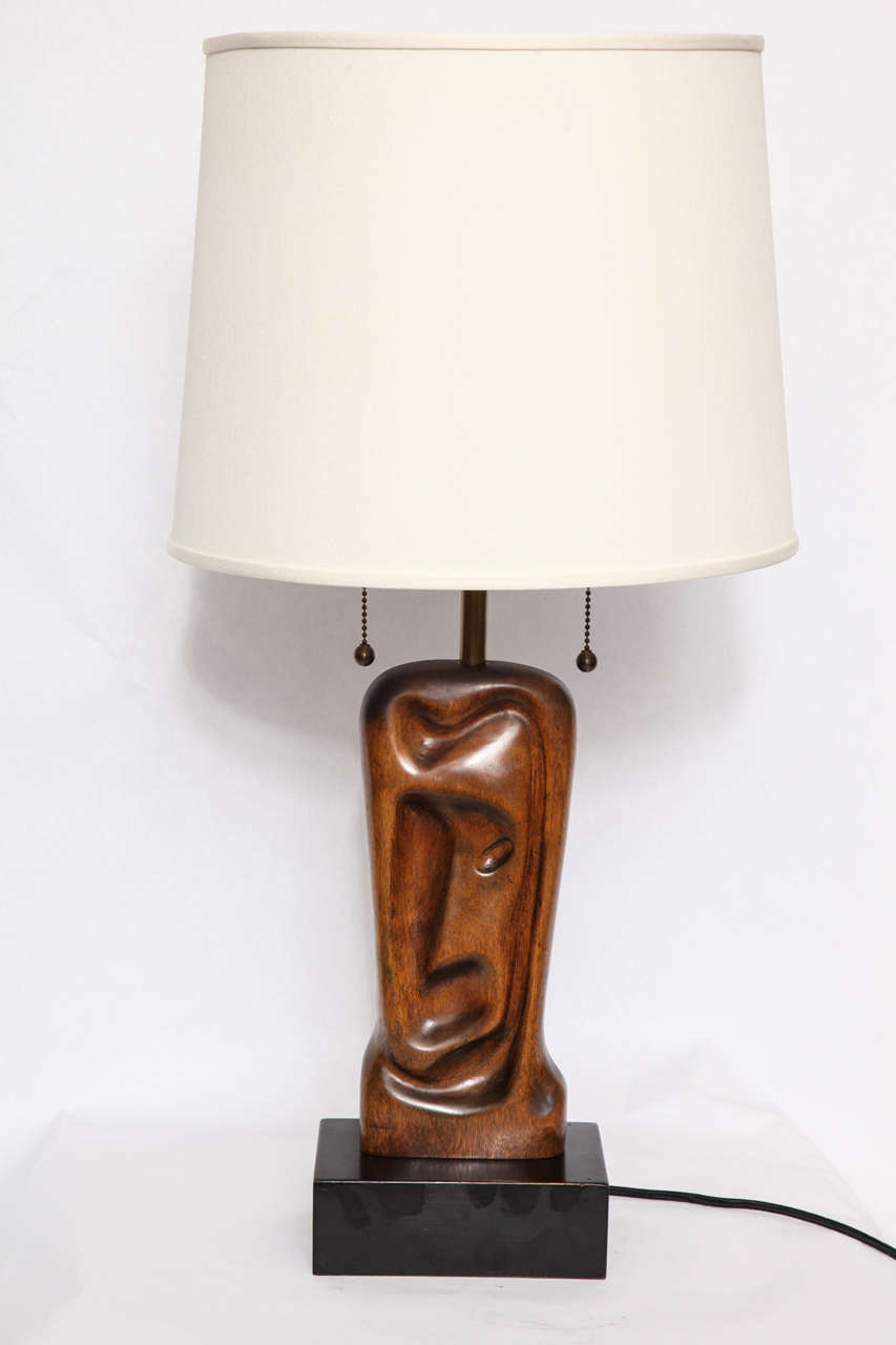 A pair of 1950s sculptural table lamps signed Heifetz. Shades not included