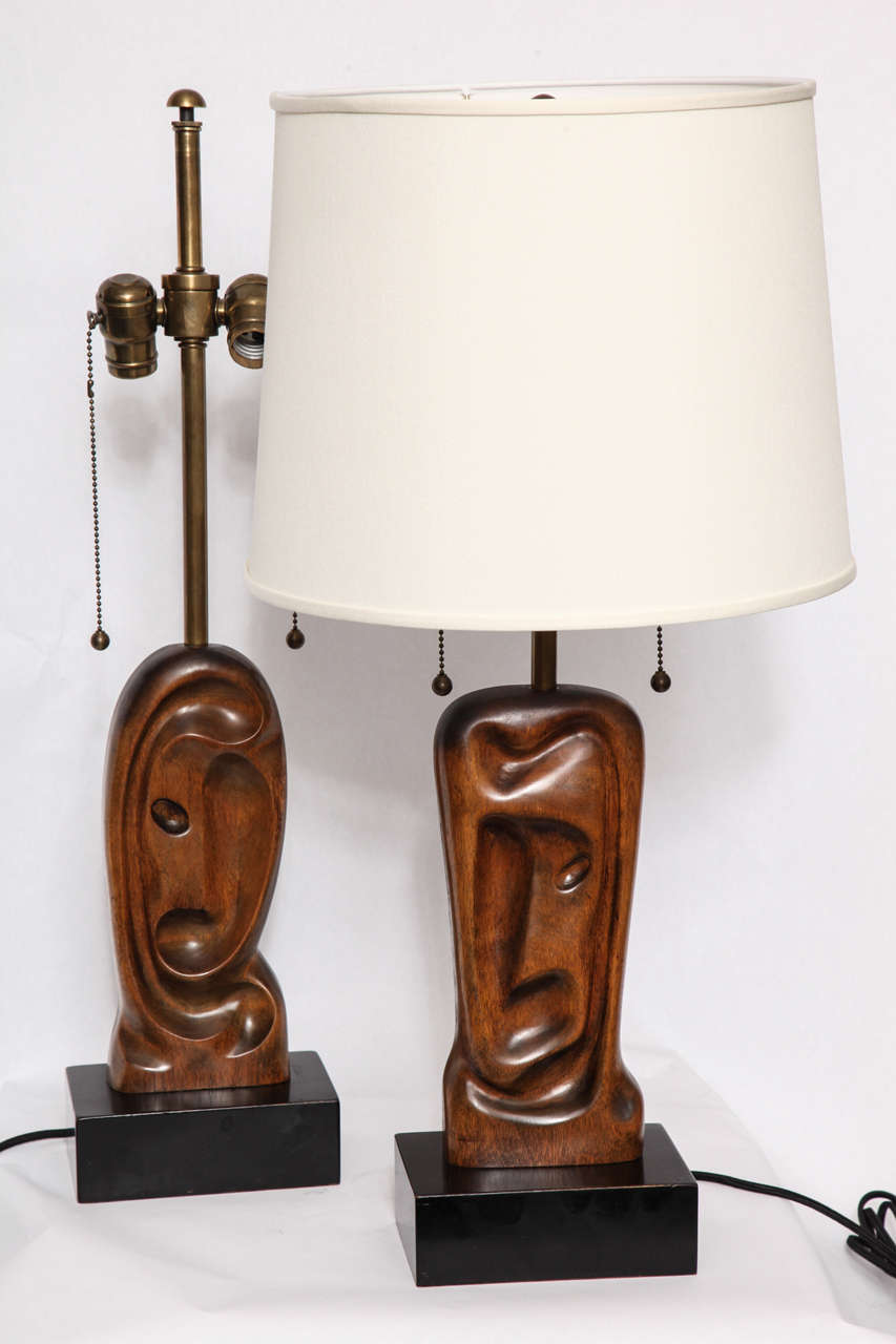 Pair of 1950s Sculptural Table Lamps Signed Heifetz 9