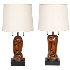 Pair of 1950s Sculptural Table Lamps Signed Heifetz