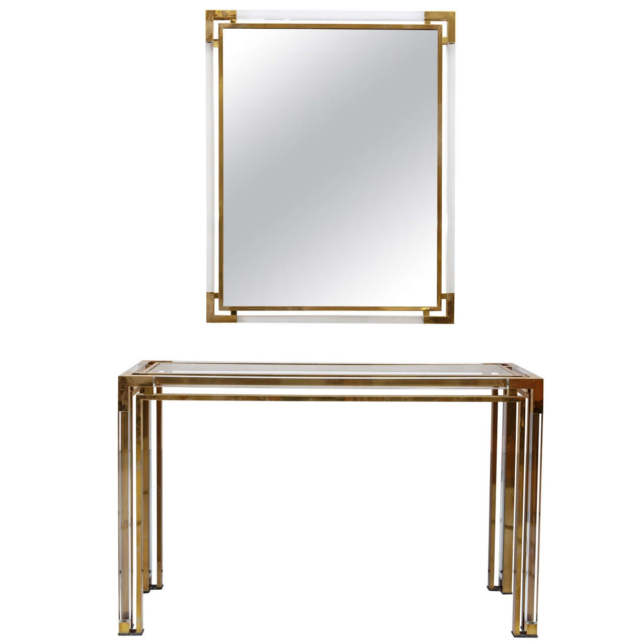 Lucite and gold brass console and mirror by romeo rega for 70 inch console table