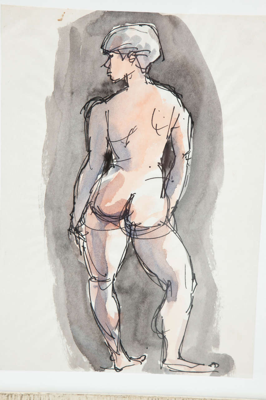 Beautiful nude painting by Barbara Pound, circa 1960. Ink and water colors.