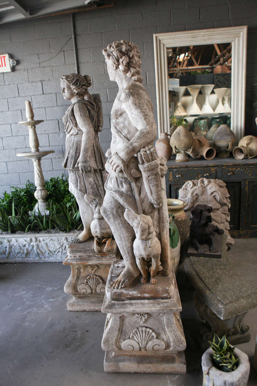 Pair Of Cast Stone Male And Female Statues At 1Stdibs-9313