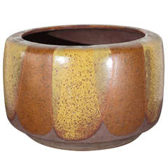Tri-Color Flame Glaze-Decorated Ceramic Planter by David Cressey for AP