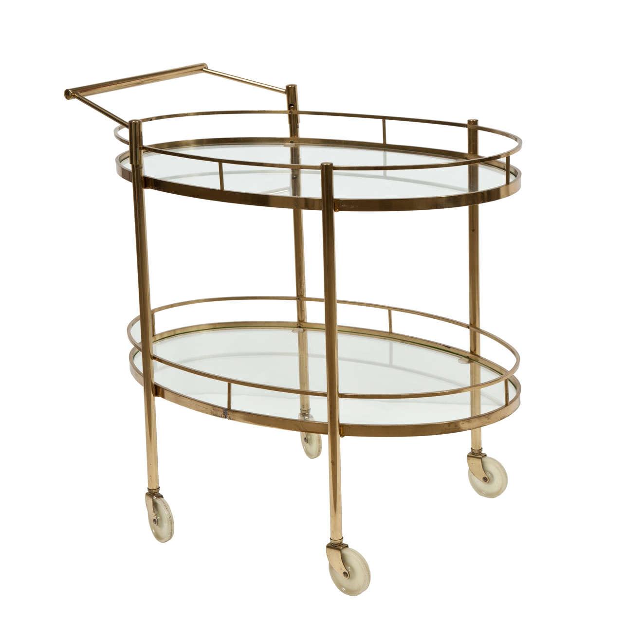 Solid Brass Mid Century Modern Oval Bar Or Tea Cart At 1stdibs