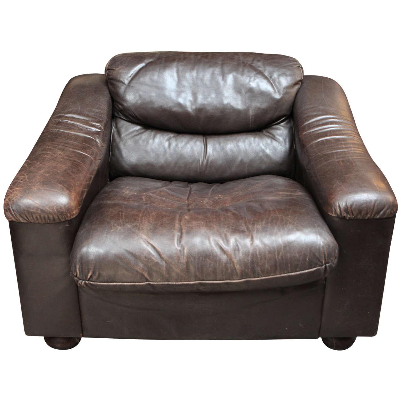 Wonderful Plush Low Leather Armchair, Circa 1900 For Sale