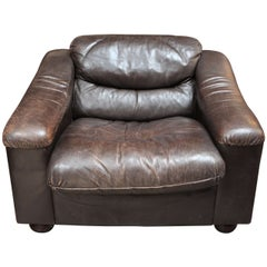 Plush Low Leather Armchair, circa 1900