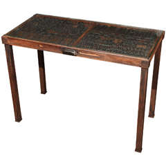 19th Century Antique Type Drawer Set in a Contemporary Iron Base with Glass Top